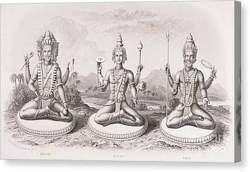 The Trimurti Or Hindu Trinity Canvas Print by English School