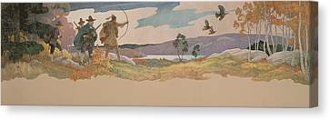 The Turkey Hunters Canvas Print by Newell Convers Wyeth