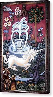 The Unicorn And Garden Canvas Print by Genevieve Esson
