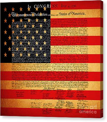 The United States Declaration Of Independence - American Flag - Square Canvas Print by Wingsdomain Art and Photography