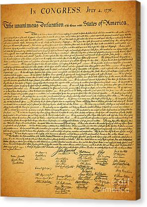 The United States Declaration Of Independence Canvas Print by Wingsdomain Art and Photography
