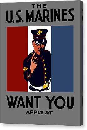 The U.s. Marines Want You  Canvas Print by War Is Hell Store