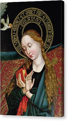 The Virgin From The Annunciation Canvas Print by Martin Schongauer