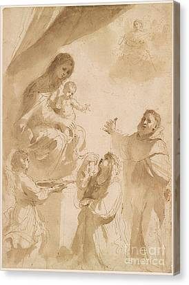 The Virgin Of The Rosary Canvas Print by Giovanni Francesco