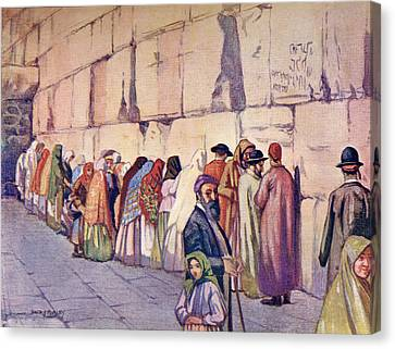 The Wailing Wall, Jerusalem, Palestine Canvas Print by Vintage Design Pics