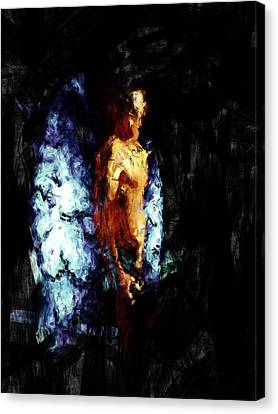 Male Angel Canvas Print featuring the painting The Watcher by Adam Vance