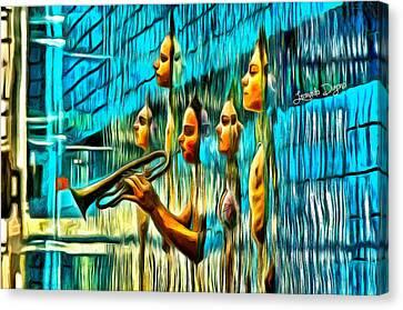The Water Musician - Da Canvas Print by Leonardo Digenio