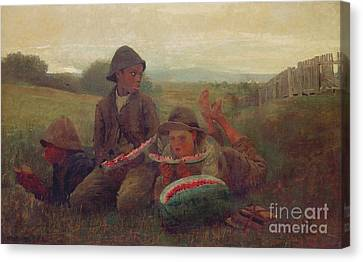The Watermelon Boys Canvas Print by Winslow Homer