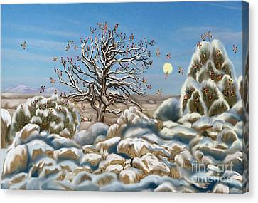 The Waxwing Tree Canvas Print by Dawn Senior-Trask