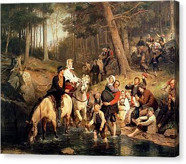 The Wedding Trek Canvas Print by Adolphe Tidemand