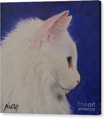 The White Cat Canvas Print by Jindra Noewi