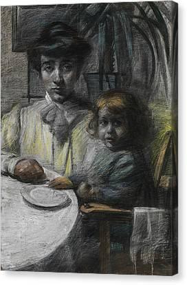 The Wife And Daughter Of Giacomo Balla Canvas Print by Umberto Boccioni