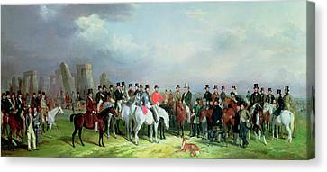 The Wiltshire Great Coursing Meeting Held At Amesbury Canvas Print by W Barraud and H Barraud