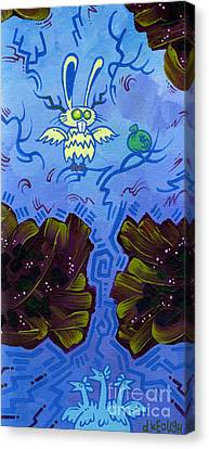 The Winged Jackalope Gots Da Loot. Doz Chickens Want Some But They Aint Getin None Of It Canvas Print by Dan Keough