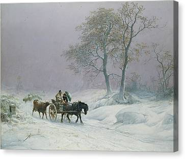 The Wintry Road To Market  Canvas Print by Thomas Sidney Cooper
