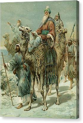 The Wise Men Seeking Jesus Canvas Print by Ambrose Dudley
