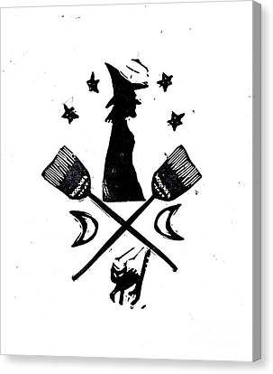 The Witches Crest Halloween Silhouette Canvas Print by Coralette Damme