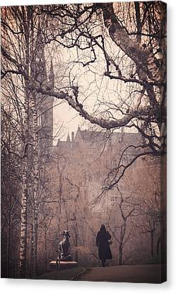 The Woman In Black Canvas Print by Carol Japp