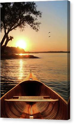 The Wooden Canoe Canvas Print by Lori Deiter