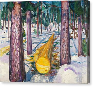 The Yellow Log Canvas Print by Edvard Munch