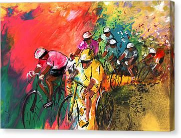 The Yellow River Of The Tour De France Canvas Print by Miki De Goodaboom