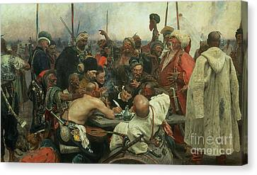 The Zaporozhye Cossacks Writing A Letter To The Turkish Sultan Canvas Print by Ilya Efimovich Repin