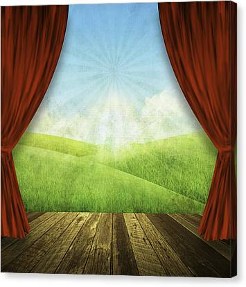 Theater Stage With Red Curtains And Nature Background  Canvas Print by Setsiri Silapasuwanchai