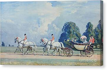 Their Majesties Returning From Ascot Canvas Print by MotionAge Designs