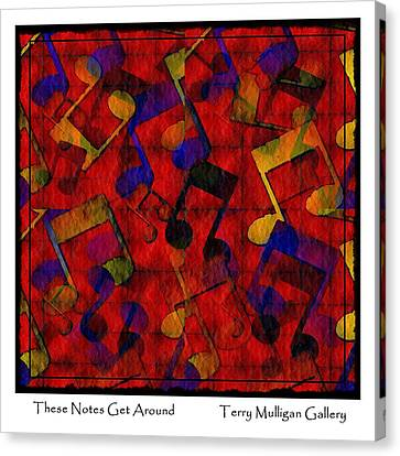 Canvas Print featuring the digital art These Notes Get Around ... Red by Terry Mulligan