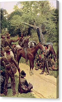 They Talked It Over With Me Sitting On The Horse Canvas Print by Howard Pyle