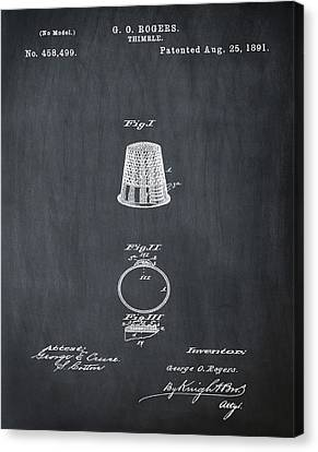Thimble Patent 1891 In Chalk Canvas Print by Bill Cannon