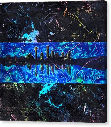 Thin Blue Line Dallas Canvas Print by Tanya Joiner Slate