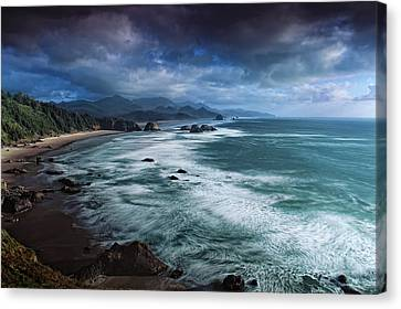 This Is Oregon State No.16 - Cannon Beach Waves Canvas Print by Paul W Sharpe Aka Wizard of Wonders
