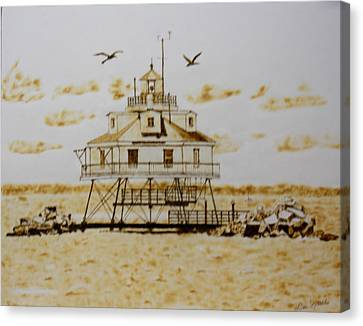 Thomas Point Shoals Station Lighthouse Canvas Print by H Leslie Simmons