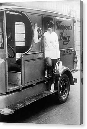 Thompson's Dairy Milkwoman Canvas Print by Underwood Archives