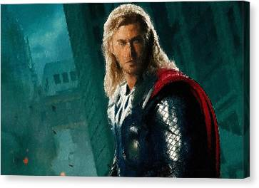 Thor Oil Pastel Sketch Canvas Print by Movie Poster Prints