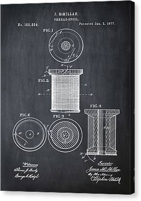 Thread Spool Patent 1877 Chalk Canvas Print by Bill Cannon