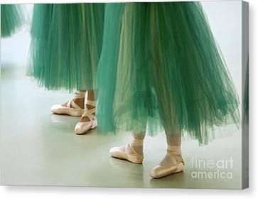 Three Ballerinas In Green Tutus Canvas Print by Julia Hiebaum