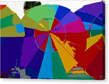 Three Beach Umbrellas Canvas Print by David Lee Thompson