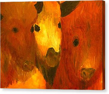 Three Bison Canvas Print by Austen Brauker