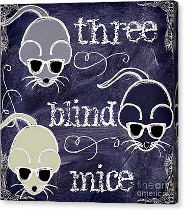 Three Blind Mice Children Chalk Art Canvas Print by Mindy Sommers