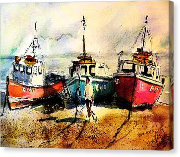 Three Boats Canvas Print by Steven Ponsford