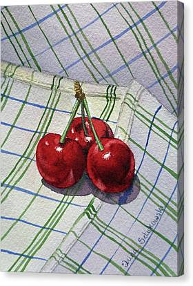 Three Sweet Cherries By Irina Sztukowski Canvas Print by Irina Sztukowski