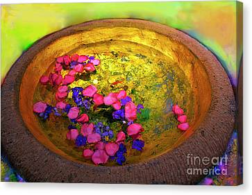 Three Coins In The Fountain With Gold Fish Canvas Print by Madeline Ellis