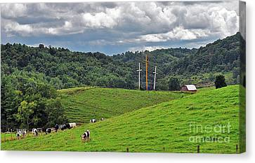 Three Crosses On The Farm Canvas Print by Lydia Holly