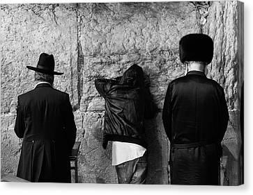 Three Different Selichot Prayers At The Kotel Canvas Print by Yoel Koskas