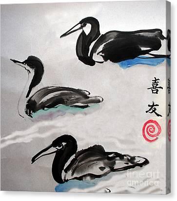 Three Ducks Canvas Print by Lisa Baack