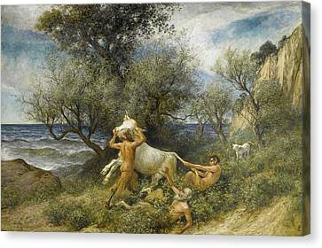 Three Faun With Cow And Calf Canvas Print by Rudolf Koller