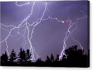 Three Frames Of Lightning Hitting Cedar Hills Area Canvas Print by Utah-based Photographer Ryan Houston