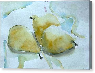 Three Gold Pears Canvas Print by Mindy Newman